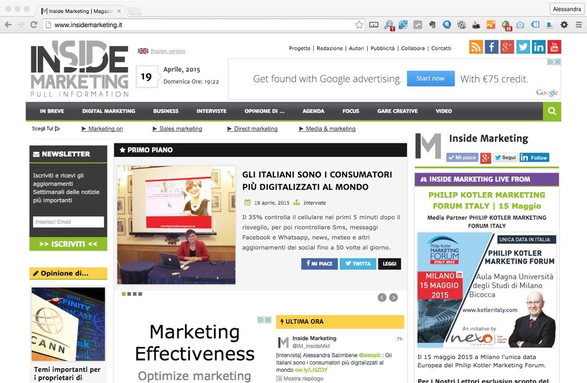Primo piano di Inside Marketing dedicato a Strategie Digitali